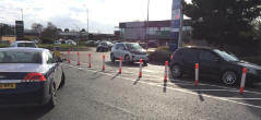 Bollards at the entrace to the Martlesham Tescos