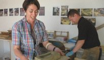 Artist Bryony Graham making bricks for Culture of the Countryside ~ pic contributed